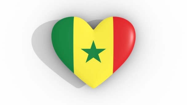 Pulsating heart in the colors of Senegal flag, on a white background, 3d rendering top, loop