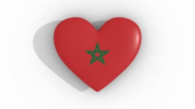 Pulsating heart in the colors of Morocco flag, on a white background, 3d rendering top, loop