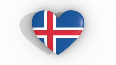 Pulsating heart in the colors of Iceland flag, on a white background, 3d rendering top, loop