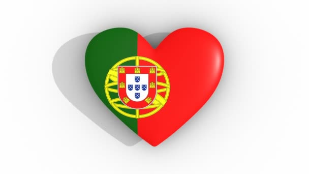 Pulsating heart in the colors of Portugal flag, on a white background, 3d rendering top, loop