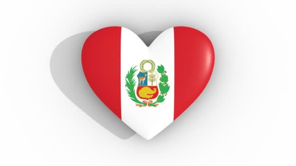 Pulsating heart in the colors of Peru flag, on a white background, 3d rendering top, loop