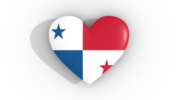 Pulsating heart in the colors of Panama flag, on a white background, 3d rendering top, loop