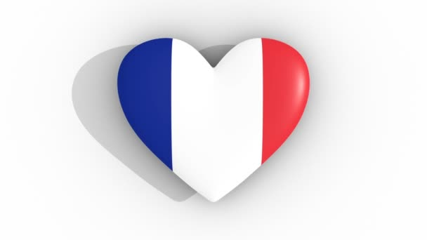 Pulsating heart in the colors of France flag, on a white background, 3d rendering top, loop