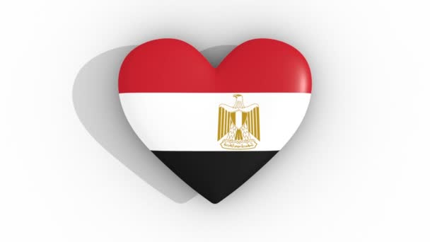 Pulsating heart in the colors of Egypt flag, on a white background, 3d rendering top, loop