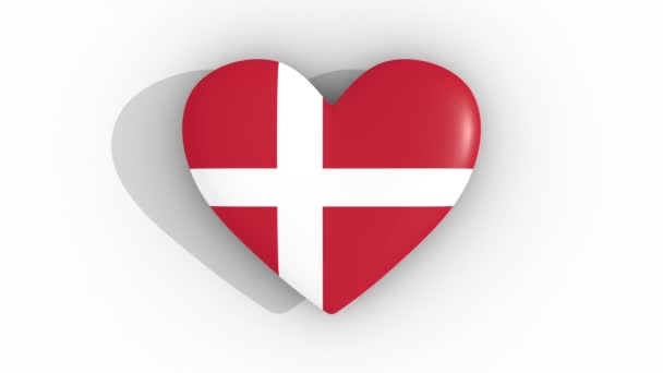 Pulsating heart in the colors of Denmark flag, on a white background, 3d rendering top, loop
