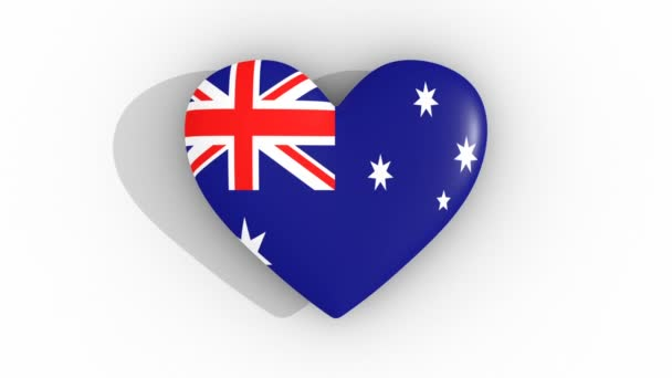 Pulsating heart in the colors of Australia flag, on a white background, 3d rendering top, loop