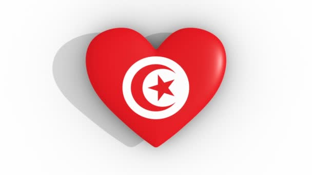 Pulsating heart in the colors of Tunisia flag, on a white background, 3d rendering top, loop
