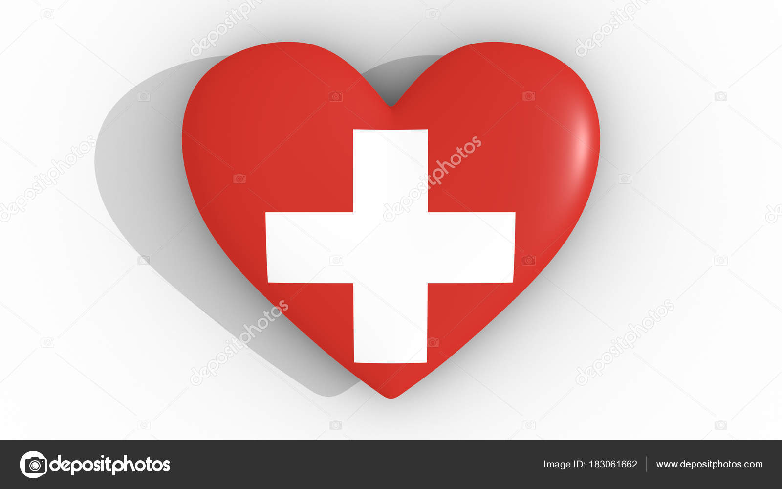 Heart In The Colors Of Switzerland Flag On A White Background 3d