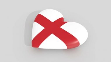 Pulsating heart in the colors of England flag, on a white background, 3d rendering side.