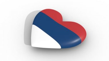 Pulsating heart in the colors of Serbia flag, on a white background, 3d rendering side, loop.
