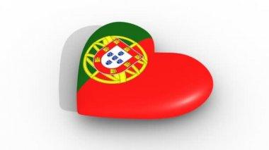 Lüktető szíve, a színek, a Portugália lobogója, fehér háttér, 3D-s renderelés oldalán, hurok