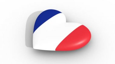 Pulsating heart in the colors of France flag, on a white background, 3d rendering side, loop.