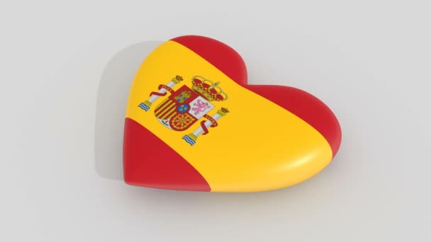 Pulsating heart in the colors of Spain flag, on a white background, 3d rendering side.