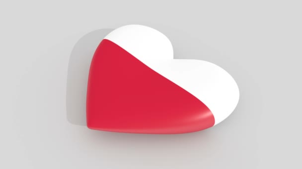Pulsating heart in the colors of Poland flag, on a white background, 3d rendering side.
