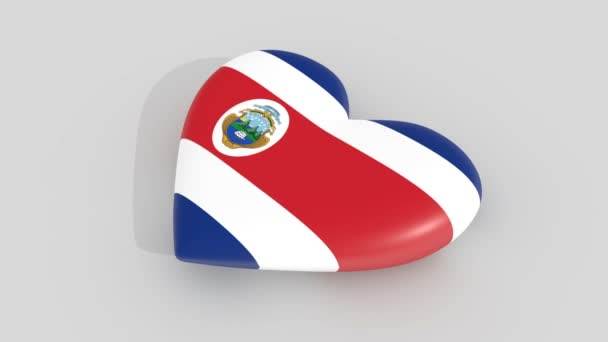 Pulsating heart in the colors of Costa Rica flag, on a white background, 3d rendering side, loop.