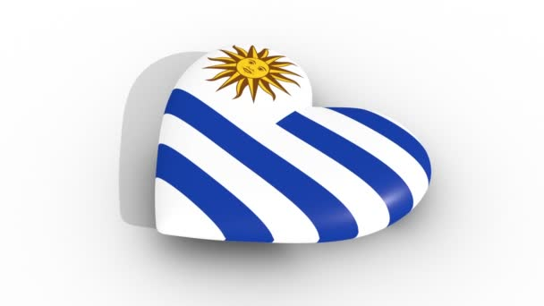 Pulsating heart in the colors of Uruguay flag, on a white background, 3d rendering side, loop.