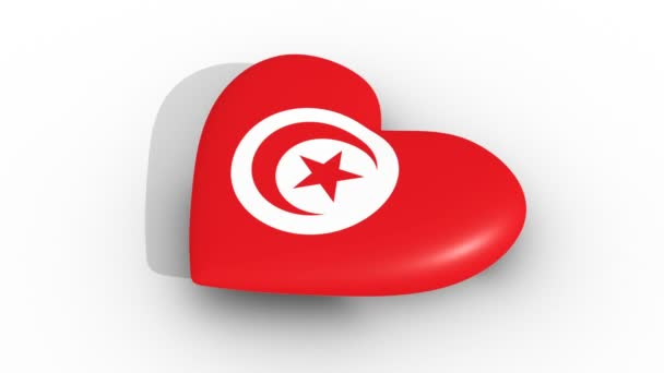 Pulsating heart in the colors of Tunisia flag, on a white background, 3d rendering side, loop.