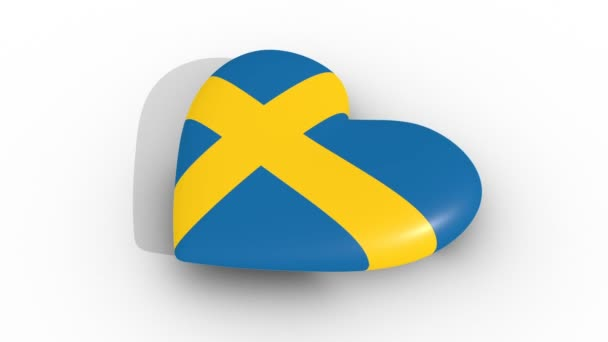 Pulsating heart in the colors of Sweden flag, on a white background, 3d rendering side, loop.