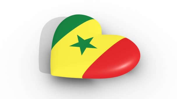 Pulsating heart in the colors of Senegal flag, on a white background, 3d rendering side, loop.