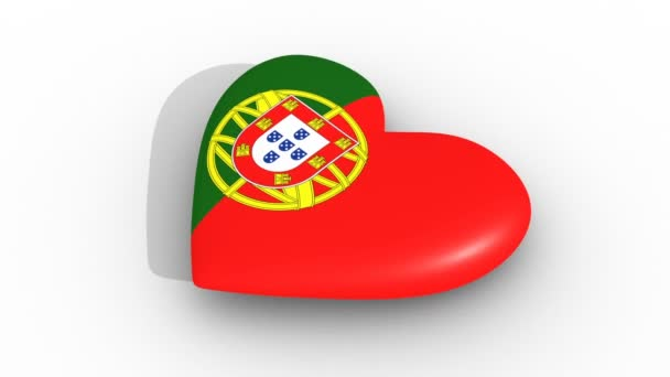 Pulsating heart in the colors of Portugal flag, on a white background, 3d rendering side, loop.