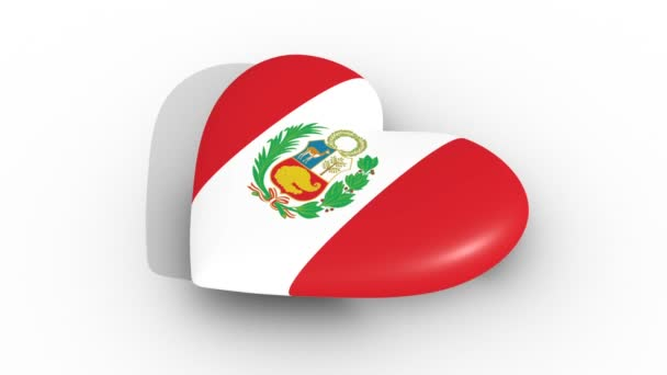 Pulsating heart in the colors of Peru flag, on a white background, 3d rendering side, loop.