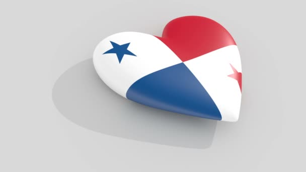 Pulsating heart in the colors of Panama flag, on a white background, 3d rendering side, loop.