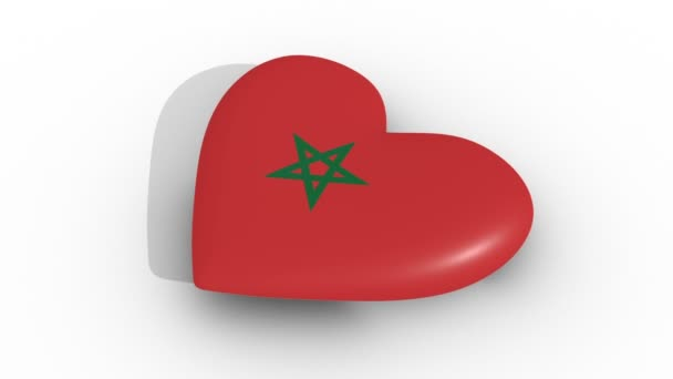 Pulsating heart in the colors of Morocco flag, on a white background, 3d rendering side, loop.