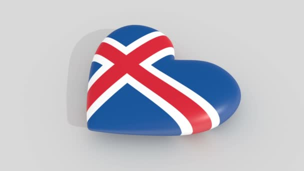 Pulsating heart in the colors of Iceland flag, on a white background, 3d rendering side, loop.
