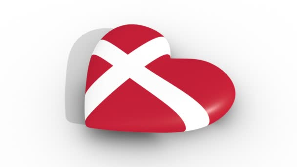Pulsating heart in the colors of Denmark flag, on a white background, 3d rendering side, loop.
