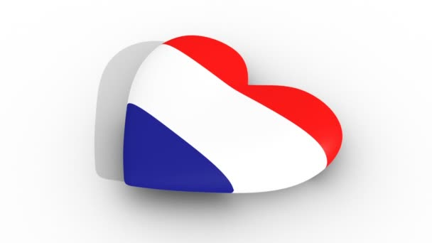 Pulsating heart in the colors of Croatia flag, on a white background, 3d rendering side, loop.