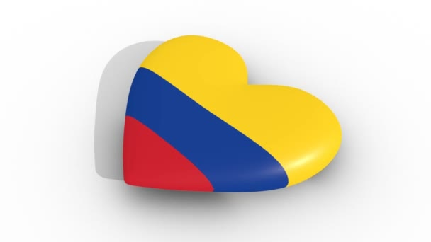 Pulsating heart in the colors of Colombia flag, on a white background, 3d rendering side, loop.