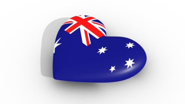 Pulsating heart in the colors of Australia flag, on a white background, 3d rendering side, loop.