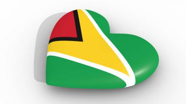 Heart in the colors of Guyana flag, on a white background, 3d rendering top.