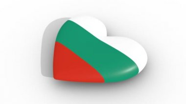 Pulsating heart in the colors of Bulgaria flag, on a white background, 3d rendering side, loop