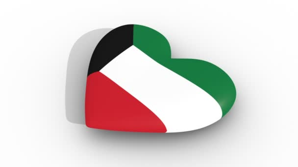 Pulsating heart in the colors of Kuwait flag, on a white background, 3d rendering side, loop