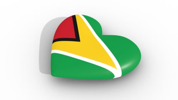 Pulsating heart in the colors of Guyana flag, on a white background, 3d rendering side, loop