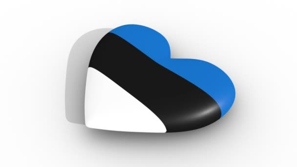Pulsating heart in the colors of Estonia flag, on a white background, 3d rendering side, loop