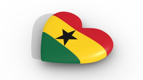 Pulsating heart in the colors of Ghana flag, on a white background, 3d rendering side, loop