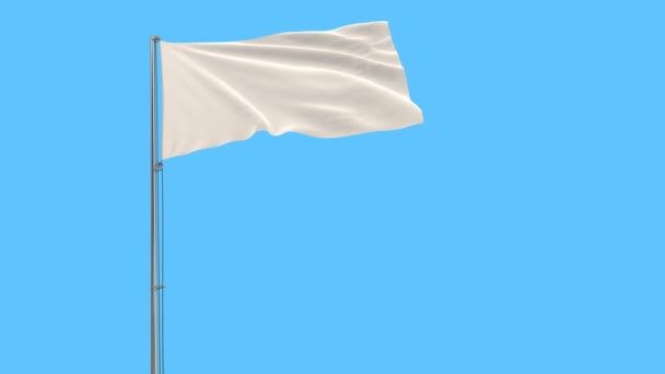 Isolate White flag on a flagpole fluttering in the wind on a blue sky background, 3d rendering.