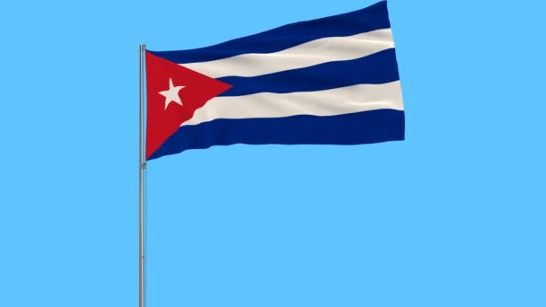 Isolate flag of Cuba on a flagpole fluttering in the wind on blue sky background, 3d rendering.