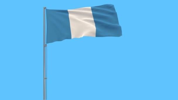Elkülöníteni a zászlórúd, csapkodott a szélben a kék háttér, 3d rendering Guatemala polgári zászló.