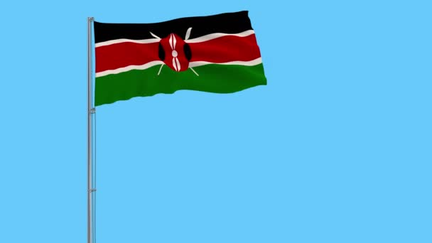 Isolate flag of Kenya on a flagpole fluttering in the wind on a blue background, 3d rendering