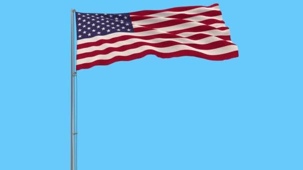 Elkülöníteni a zászlórúd, csapkodott a szélben a kék háttér, 3d rendering USA zászló