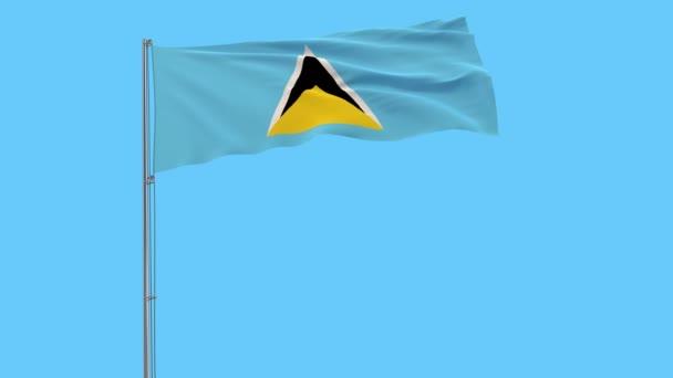 Izolovat vlajka svaté Lucie na stožáru vlaje ve větru na bílém pozadí, 3d vykreslování