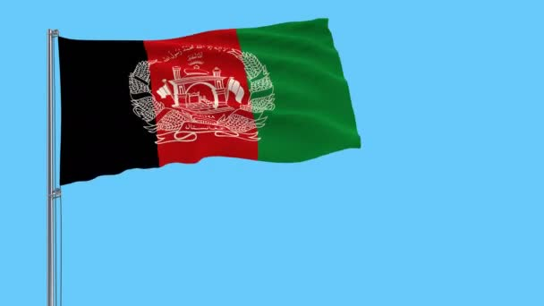 Isolate flag of Islamic Republic Afghanistan on a flagpole fluttering in the wind on a blue background, 3d rendering