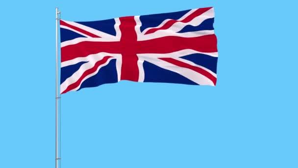 Izolovat vlajka Spojeného království na stožáru vlaje ve větru na modrém pozadí, 3d vykreslování