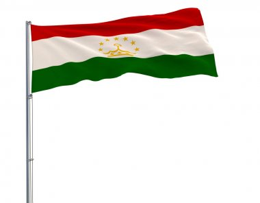 Isolate flag of Tajikistan on a flagpole fluttering in the wind on a white background, 3d rendering.