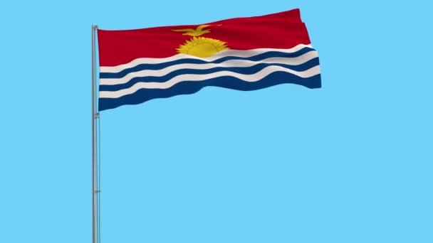 Isolate flag of Kiribati on a flagpole fluttering in the wind on a blue background, 3d rendering