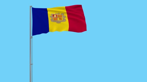 Isolate flag of Andorra on a flagpole fluttering in the wind on a blue background, 3d rendering