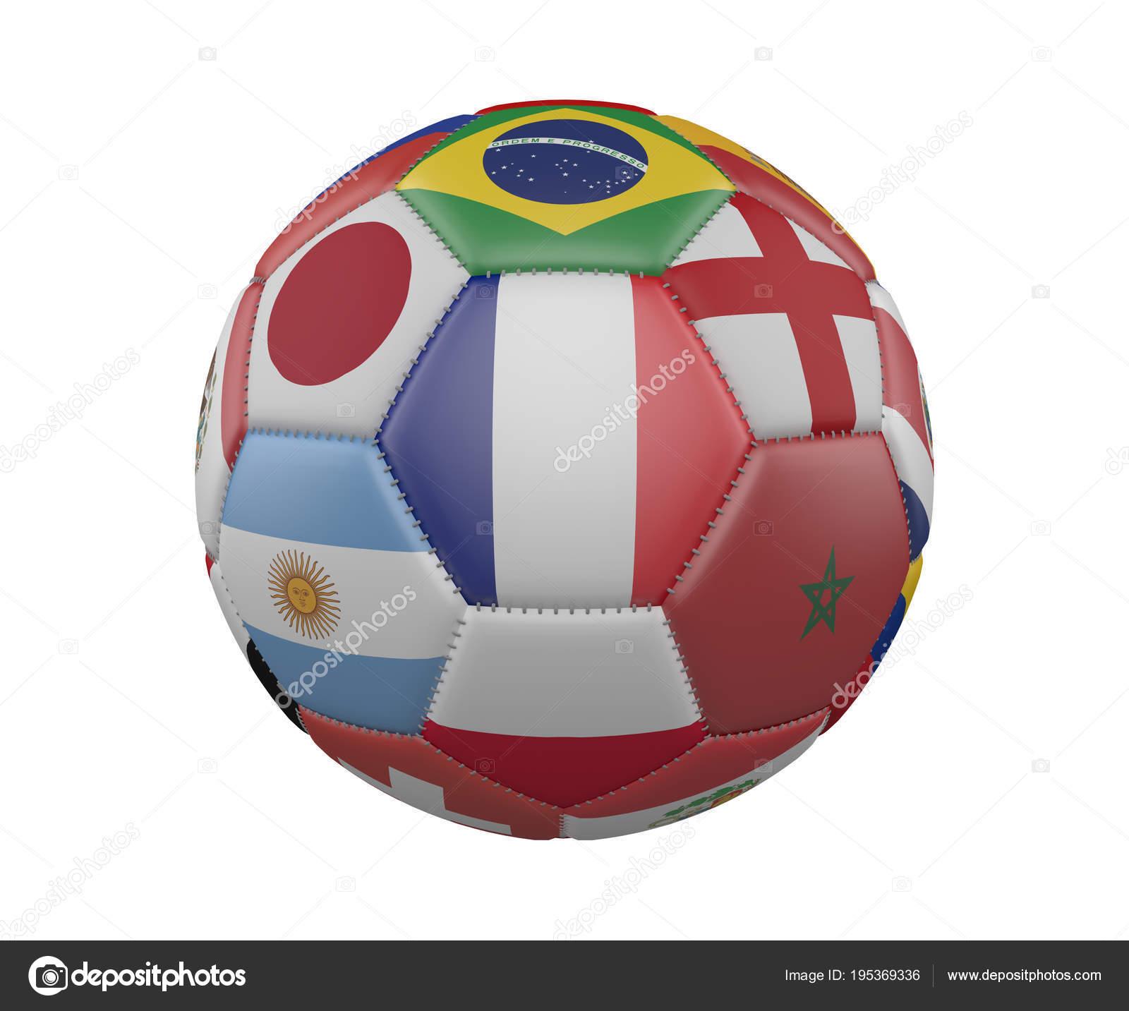 Футбольный мяч с флагами, изолированные на белом фоне, Франция в центре, 3d  визуализация c2a6be08293